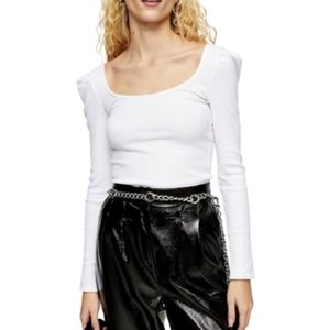 TOPSHOP Ribbed Square Neck Puff-Sleeve Top